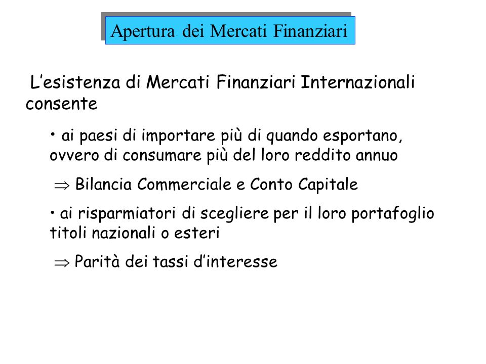 Apertura dei Mercati Finanziari