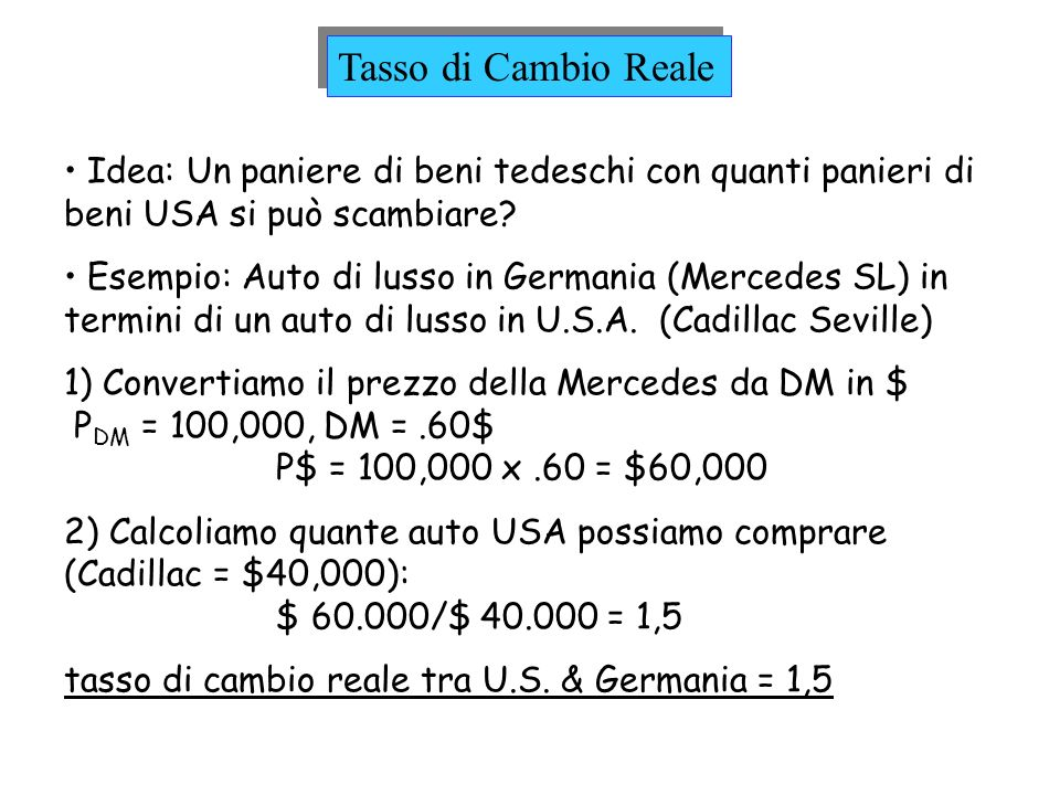 Tasso di Cambio Reale Idea: Un paniere di beni tedeschi con quanti panieri di beni USA si può scambiare