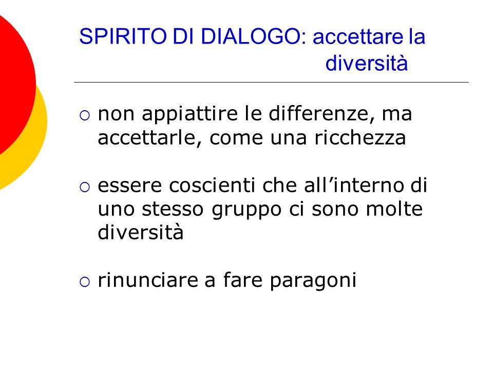 SPIRITO DI DIALOGO: accettare la diversità