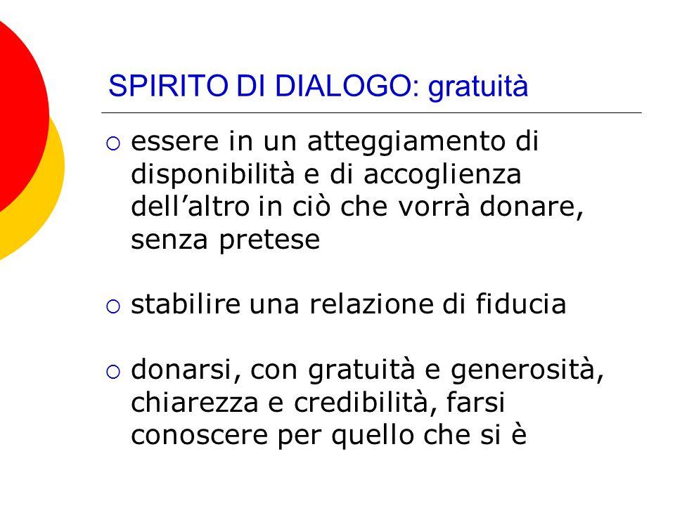 SPIRITO DI DIALOGO: gratuità