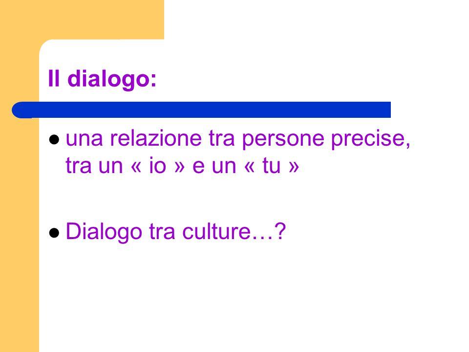 Il dialogo: una relazione tra persone precise, tra un « io » e un « tu » Dialogo tra culture…