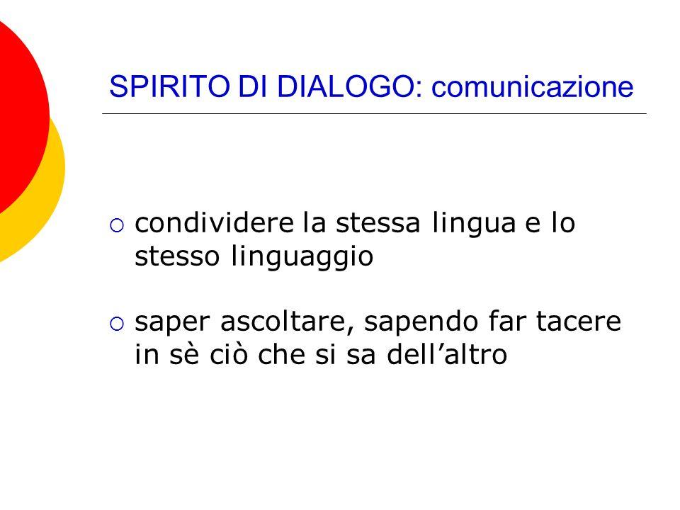 SPIRITO DI DIALOGO: comunicazione