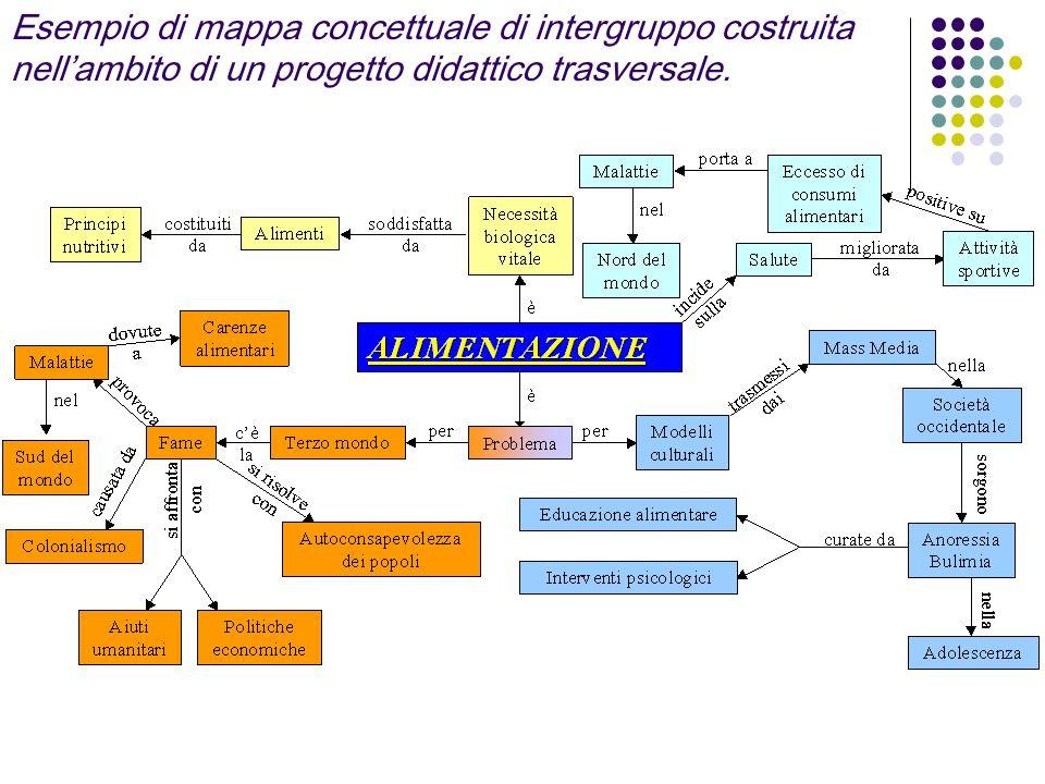 Esempio di mappa concettuale di intergruppo costruita nell'ambito di un progetto didattico trasversale.