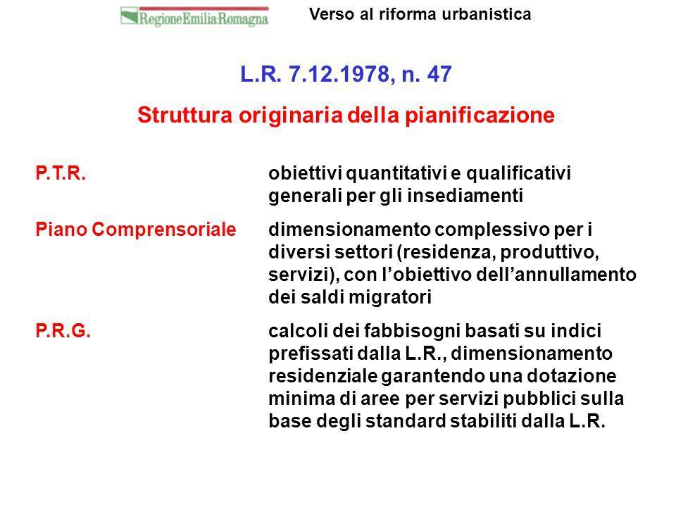 Verso al riforma urbanistica Struttura originaria della pianificazione