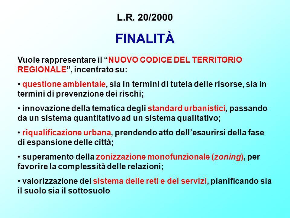 L.R. 20/2000 FINALITÀ. Vuole rappresentare il NUOVO CODICE DEL TERRITORIO REGIONALE , incentrato su: