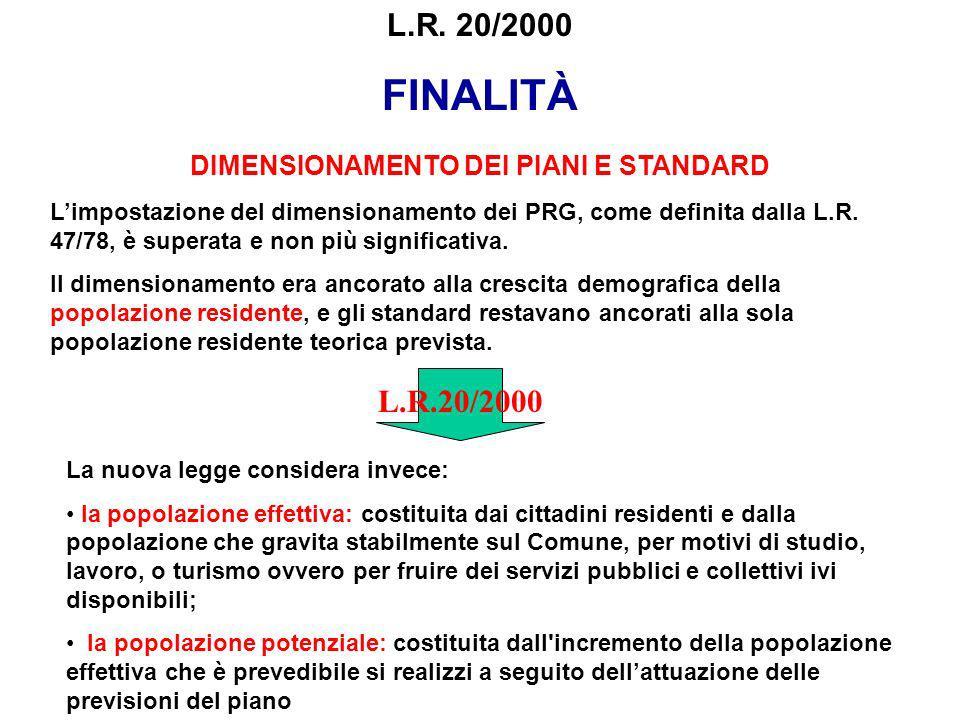 DIMENSIONAMENTO DEI PIANI E STANDARD