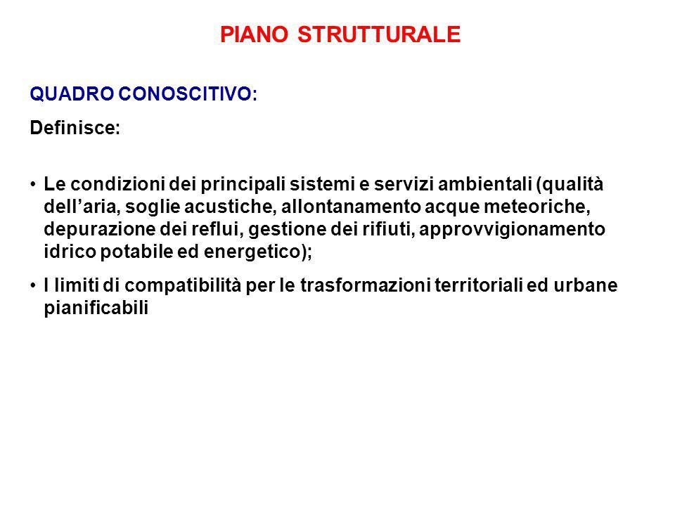 PIANO STRUTTURALE QUADRO CONOSCITIVO: Definisce: