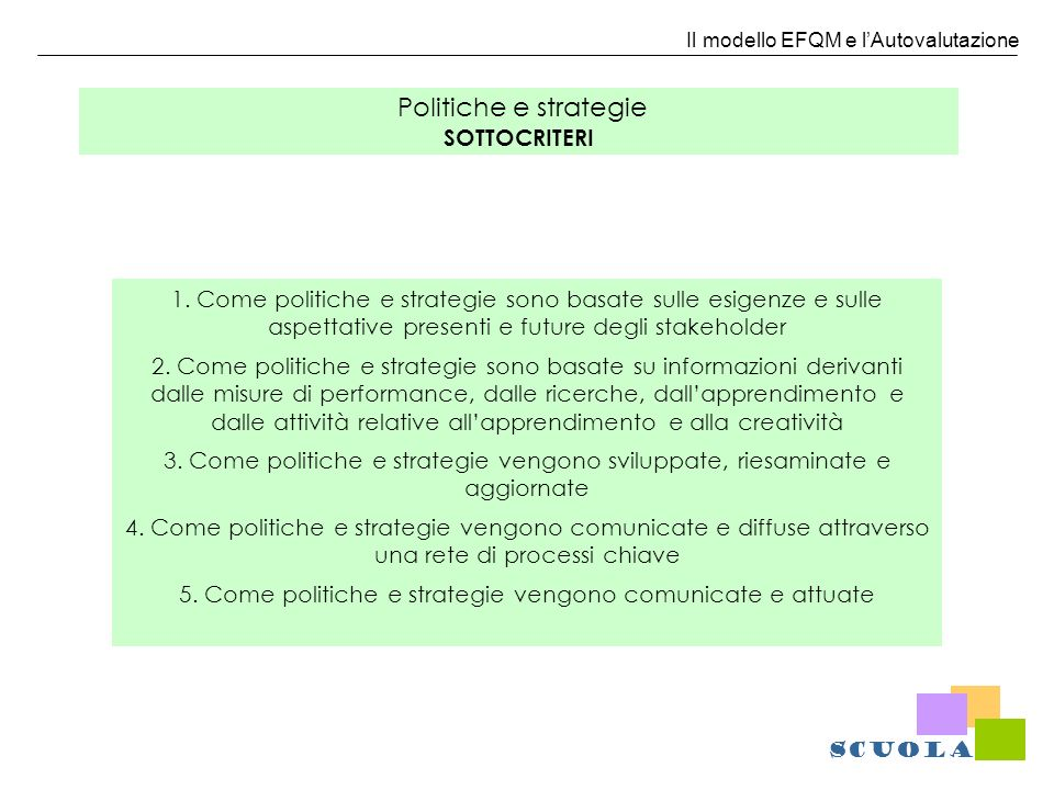 Politiche e strategie SOTTOCRITERI