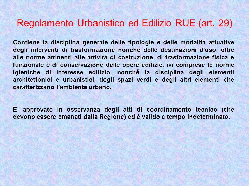 Regolamento Urbanistico ed Edilizio RUE (art. 29)