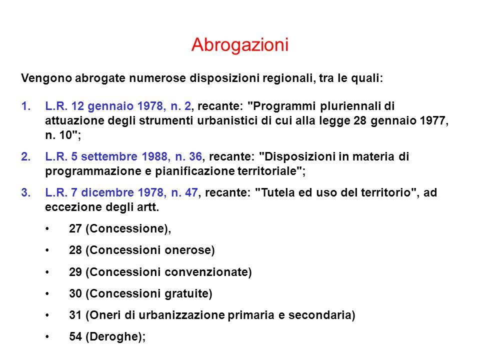 Abrogazioni Vengono abrogate numerose disposizioni regionali, tra le quali: