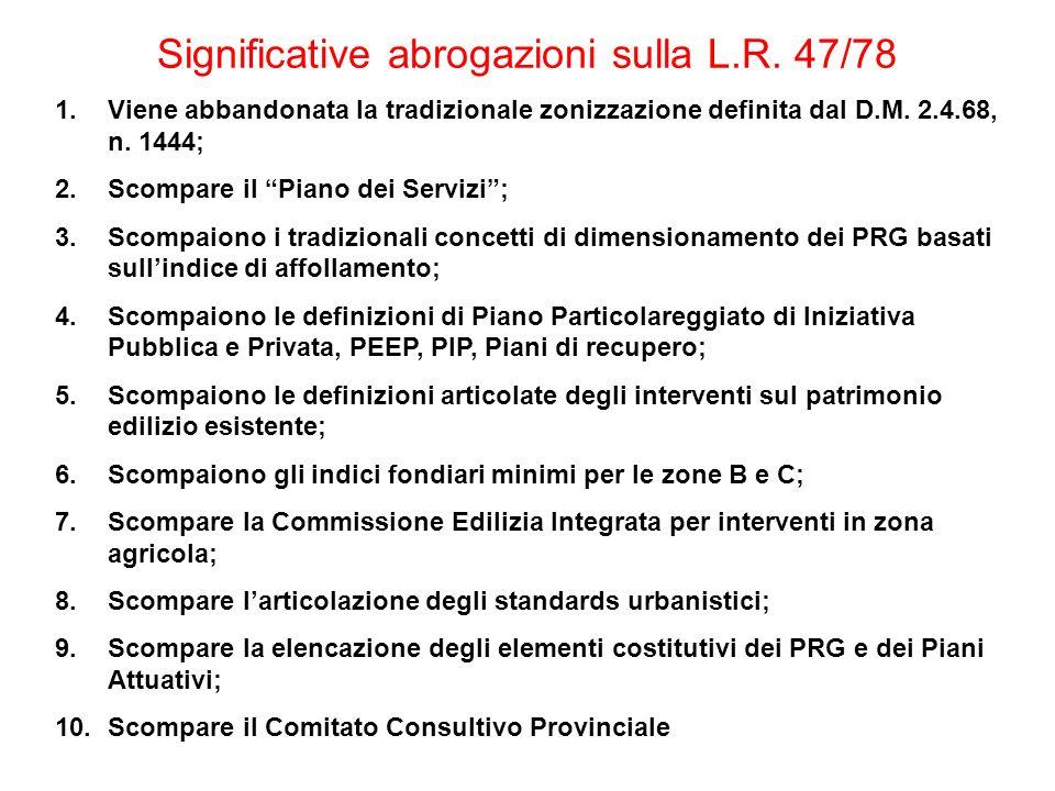Significative abrogazioni sulla L.R. 47/78