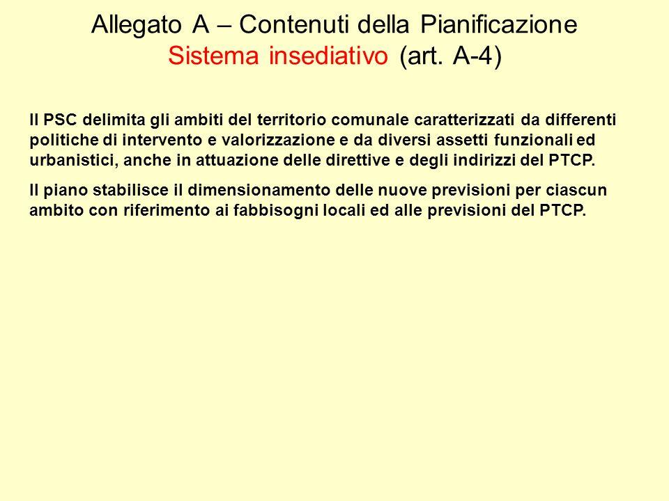 Allegato A – Contenuti della Pianificazione Sistema insediativo (art