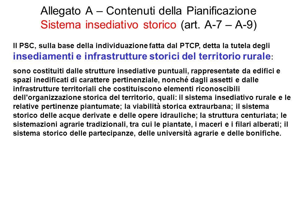 Allegato A – Contenuti della Pianificazione Sistema insediativo storico (art. A-7 – A-9)