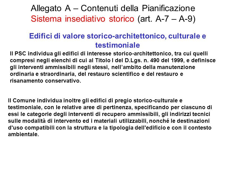 Edifici di valore storico-architettonico, culturale e testimoniale