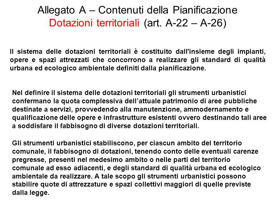 Allegato A – Contenuti della Pianificazione Dotazioni territoriali (art. A-22 – A-26)