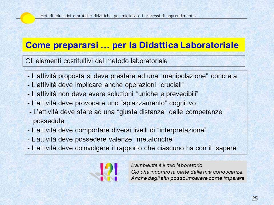 ! ! Come prepararsi … per la Didattica Laboratoriale