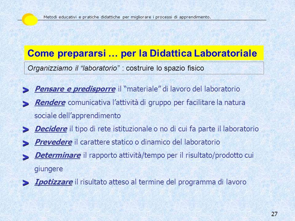 Come prepararsi … per la Didattica Laboratoriale