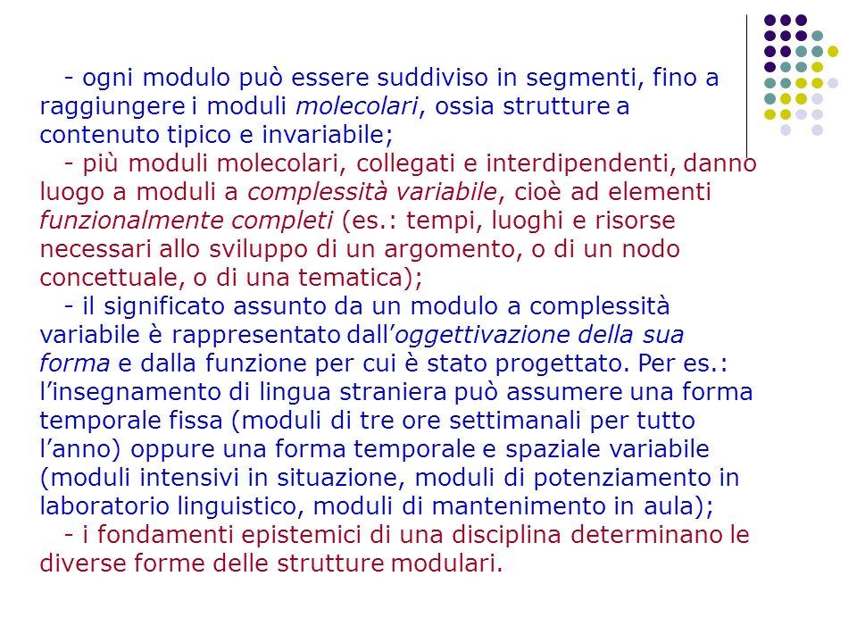 - ogni modulo può essere suddiviso in segmenti, fino a raggiungere i moduli molecolari, ossia strutture a contenuto tipico e invariabile;