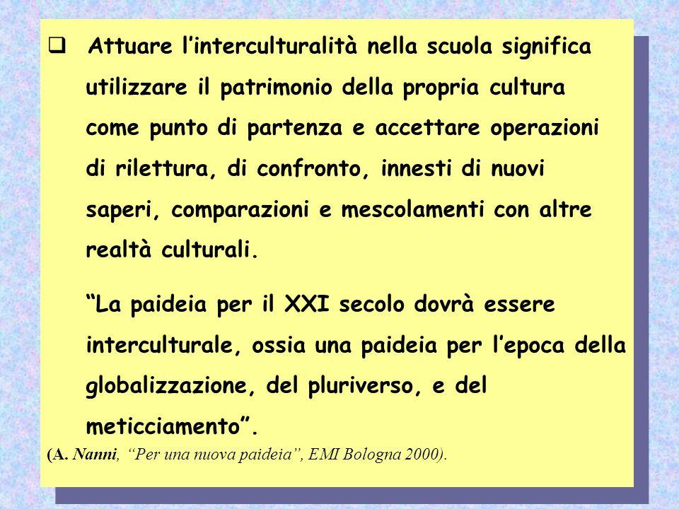 Attuare l'interculturalità nella scuola significa