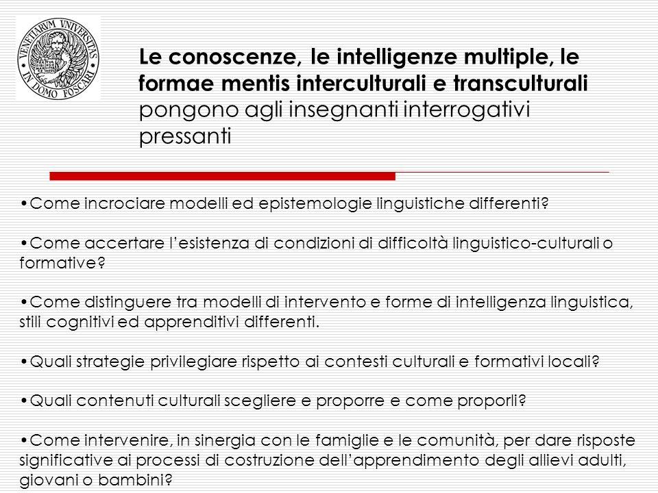 Le conoscenze, le intelligenze multiple, le formae mentis interculturali e transculturali pongono agli insegnanti interrogativi pressanti