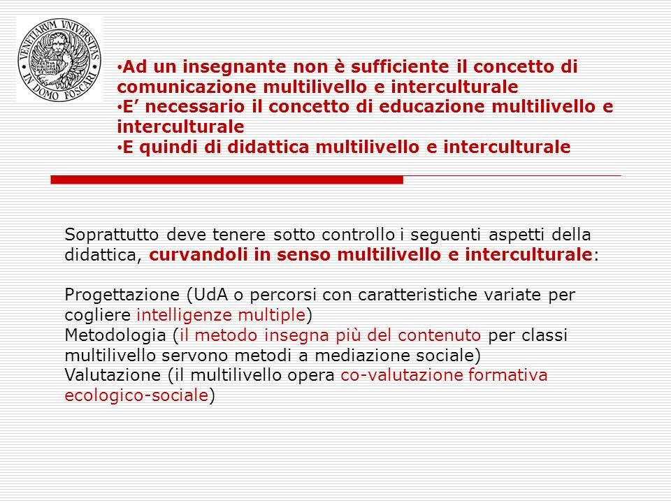 Ad un insegnante non è sufficiente il concetto di comunicazione multilivello e interculturale