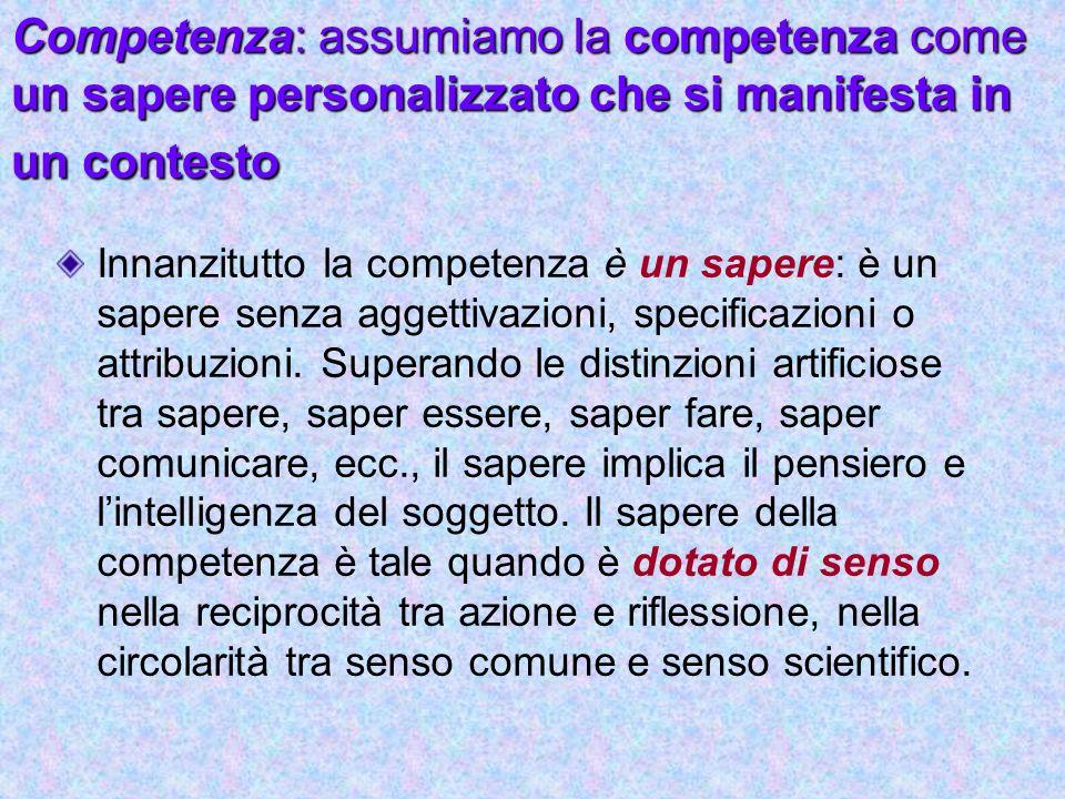 Competenza: assumiamo la competenza come un sapere personalizzato che si manifesta in un contesto