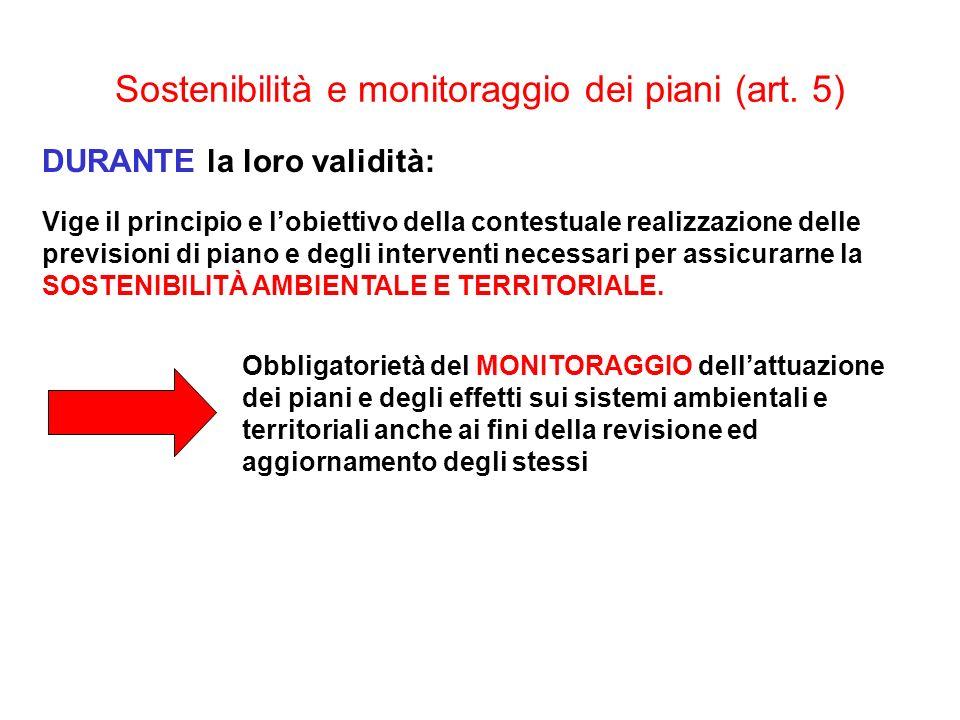 Sostenibilità e monitoraggio dei piani (art. 5)