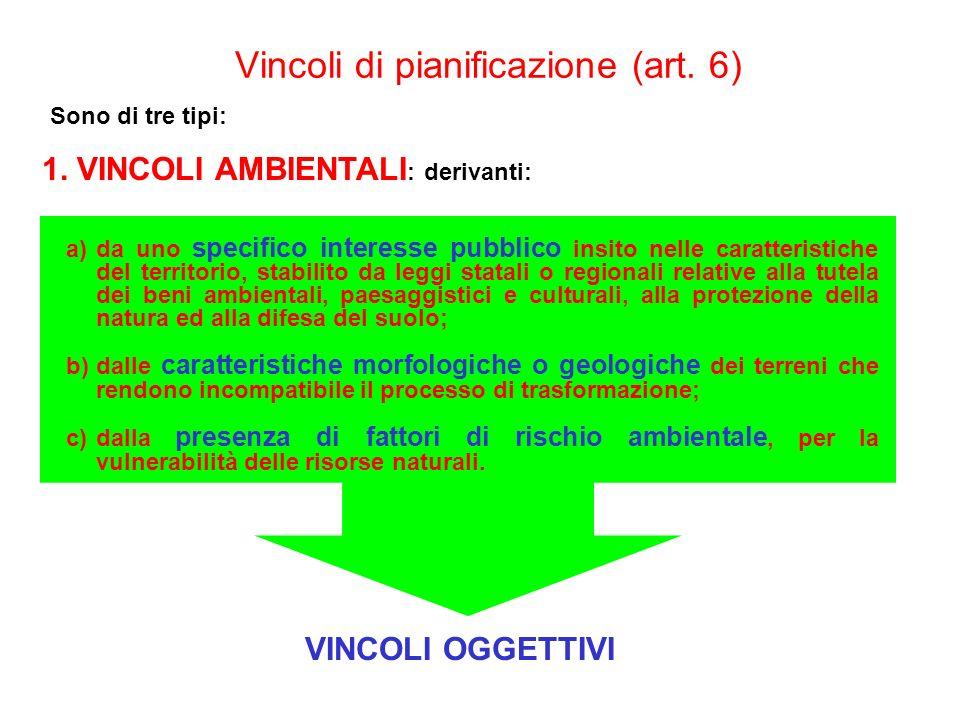 Vincoli di pianificazione (art. 6)