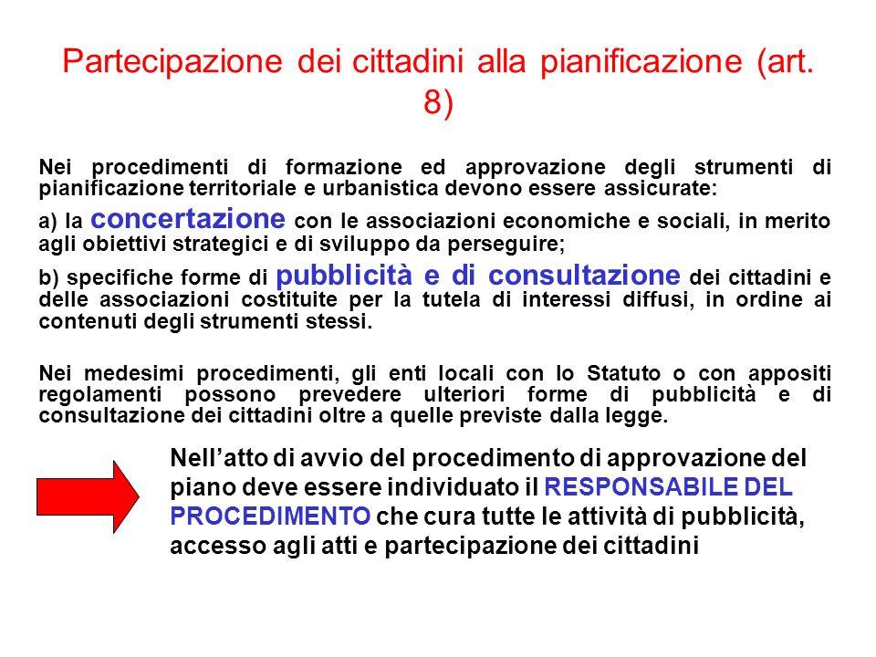 Partecipazione dei cittadini alla pianificazione (art. 8)