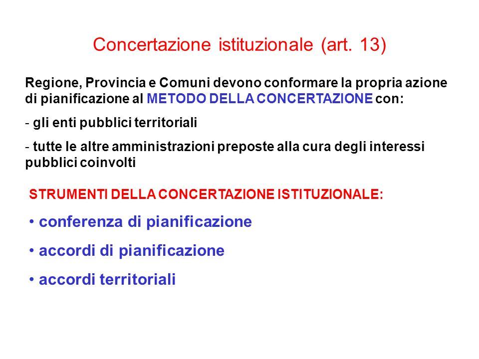 Concertazione istituzionale (art. 13)