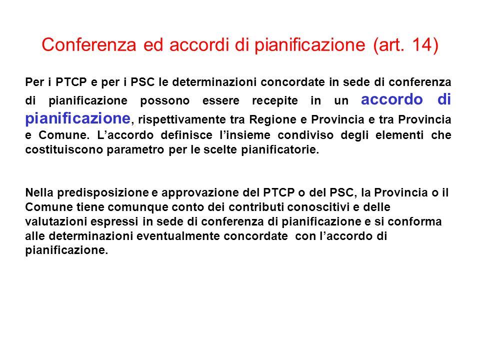 Conferenza ed accordi di pianificazione (art. 14)