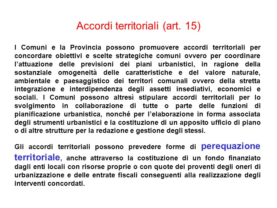 Accordi territoriali (art. 15)