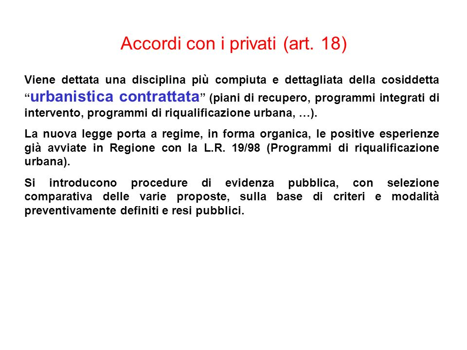 Accordi con i privati (art. 18)