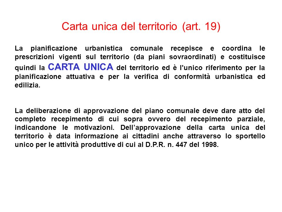 Carta unica del territorio (art. 19)