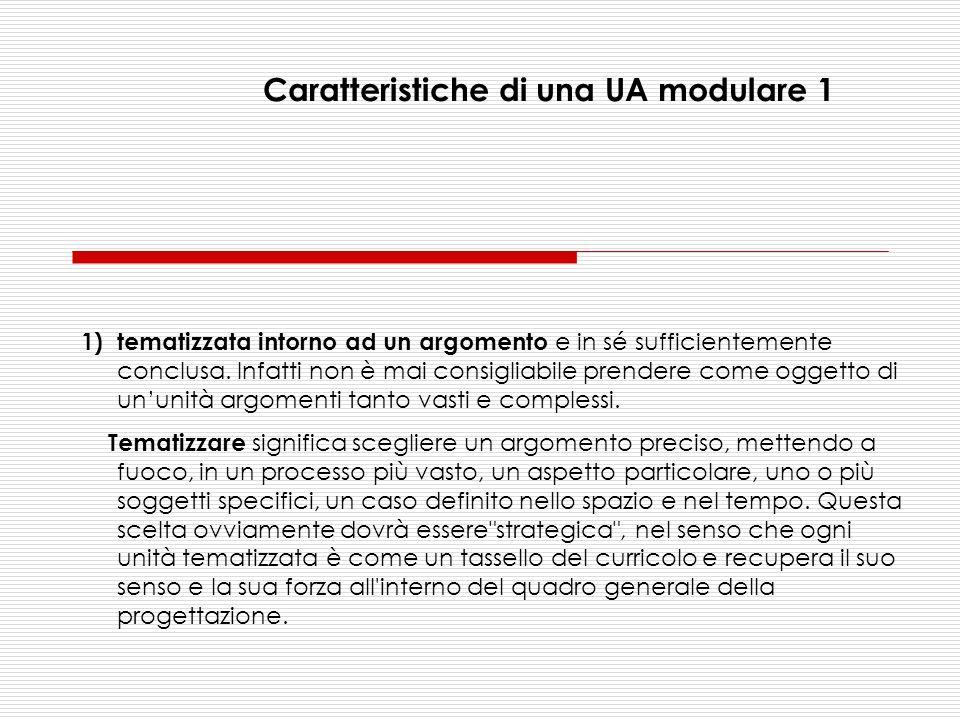 Caratteristiche di una UA modulare 1