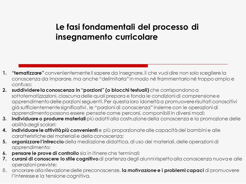 Le fasi fondamentali del processo di insegnamento curricolare
