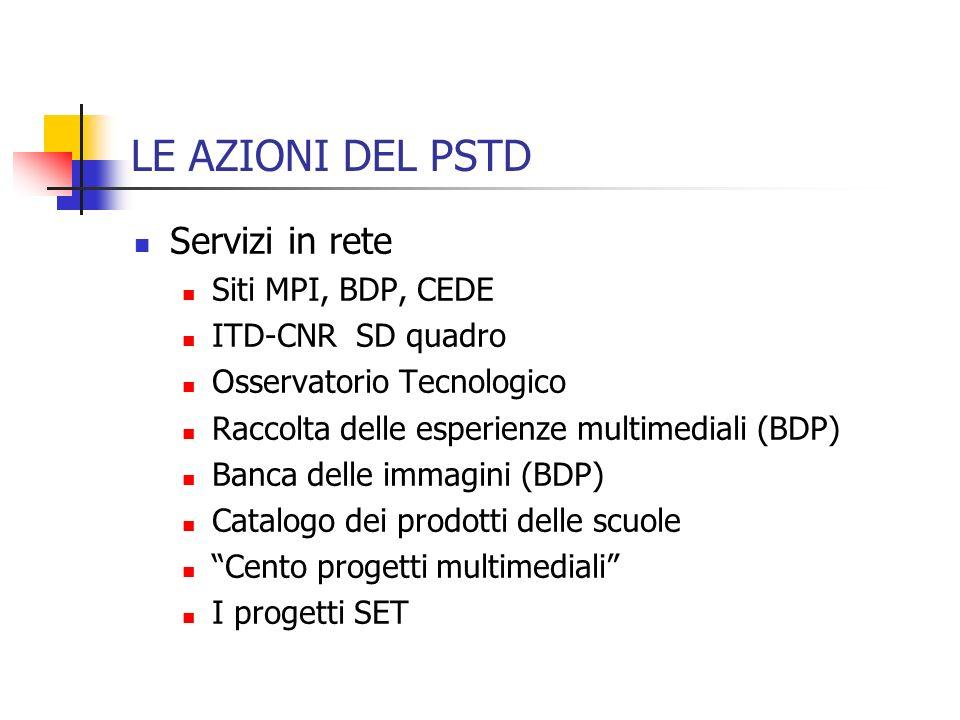 LE AZIONI DEL PSTD Servizi in rete Siti MPI, BDP, CEDE