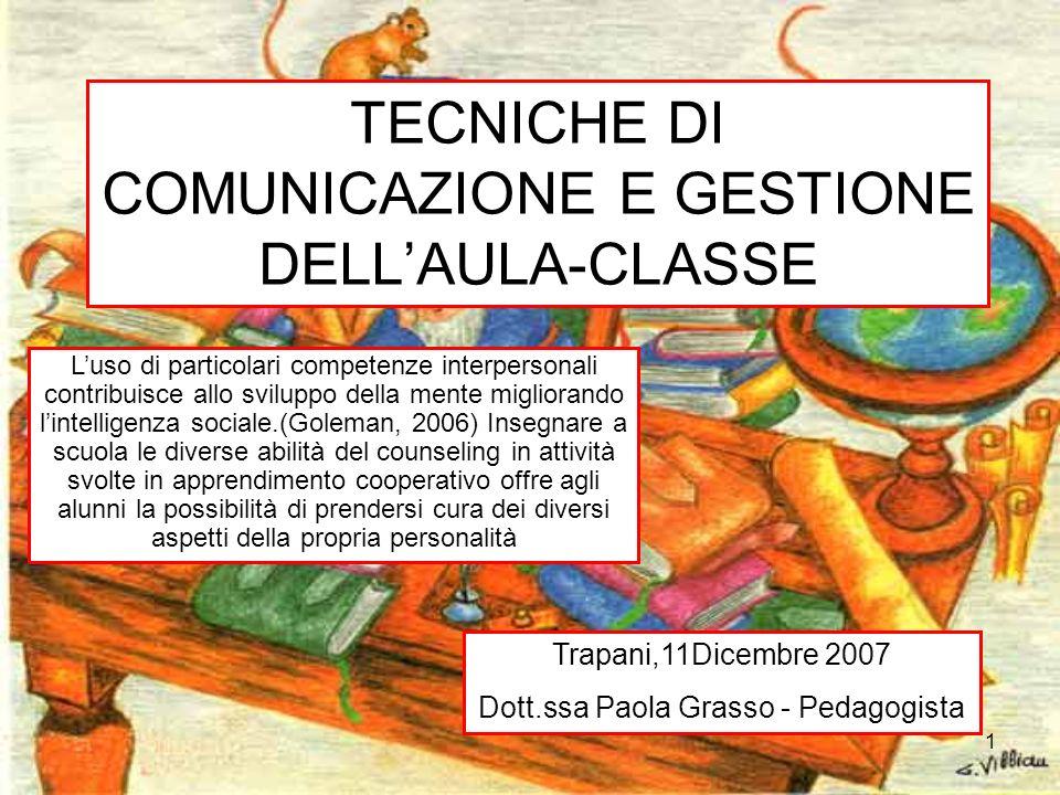 TECNICHE DI COMUNICAZIONE E GESTIONE DELL'AULA-CLASSE
