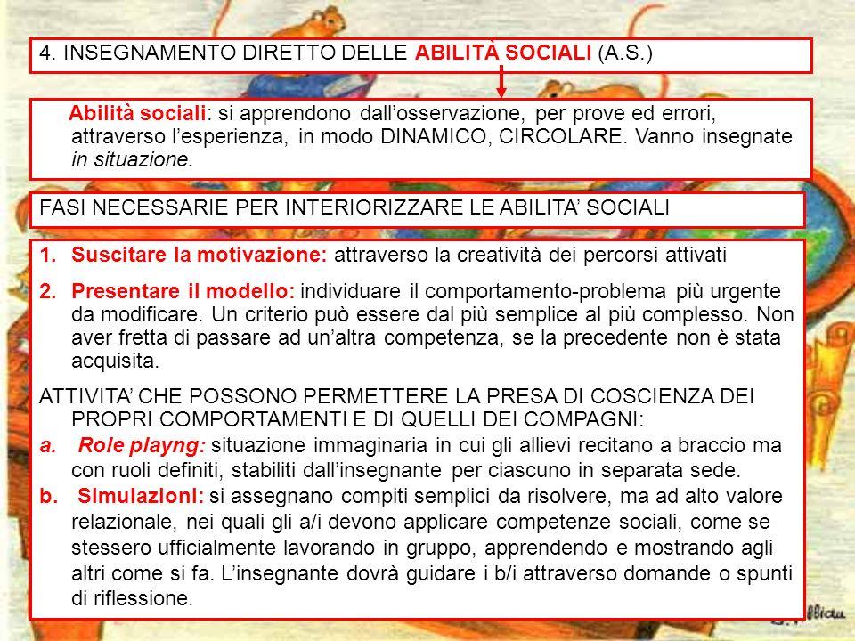 4. INSEGNAMENTO DIRETTO DELLE ABILITÀ SOCIALI (A.S.)