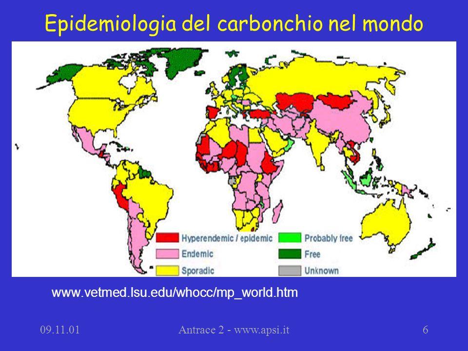 Epidemiologia del carbonchio nel mondo