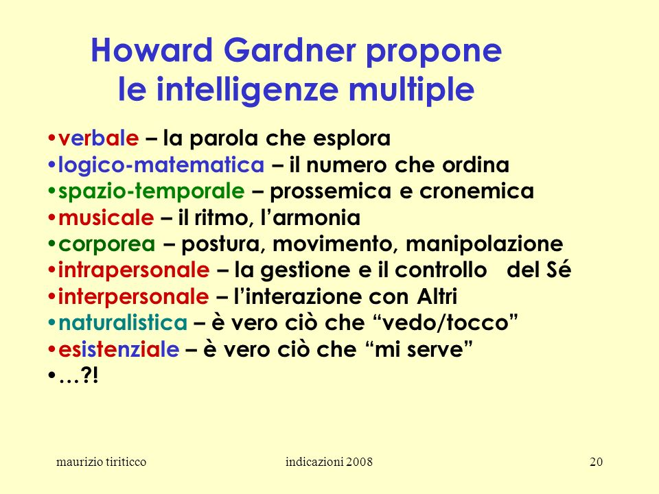 Howard Gardner propone le intelligenze multiple