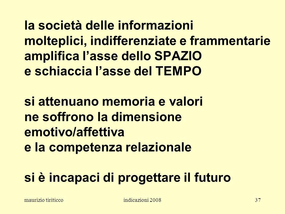 la società delle informazioni molteplici, indifferenziate e frammentarie amplifica l'asse dello SPAZIO e schiaccia l'asse del TEMPO si attenuano memoria e valori ne soffrono la dimensione emotivo/affettiva e la competenza relazionale si è incapaci di progettare il futuro
