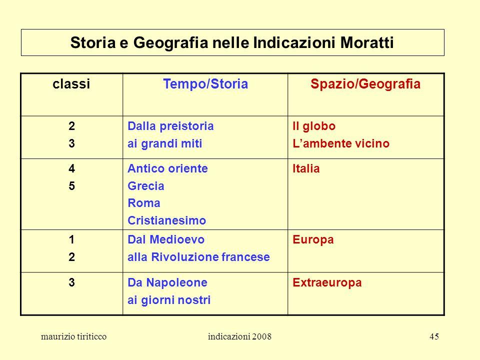 Storia e Geografia nelle Indicazioni Moratti
