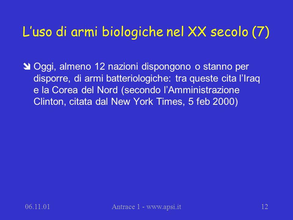 L'uso di armi biologiche nel XX secolo (7)