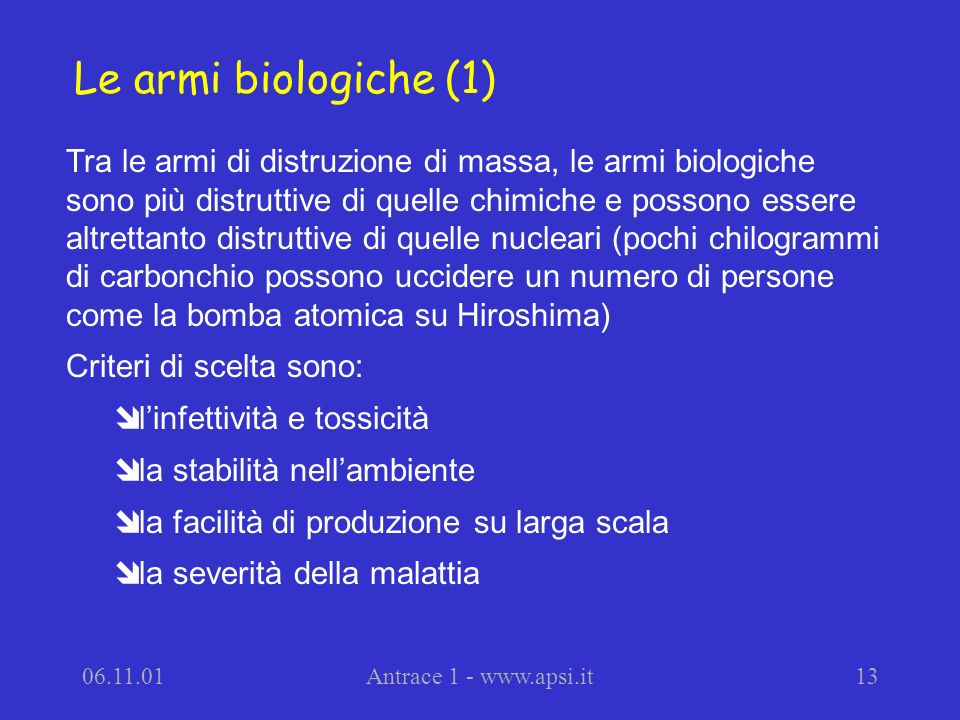 Le armi biologiche (1)