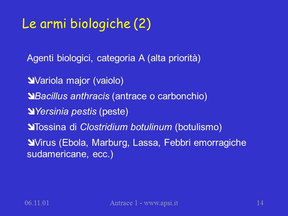 Le armi biologiche (2) Agenti biologici, categoria A (alta priorità)