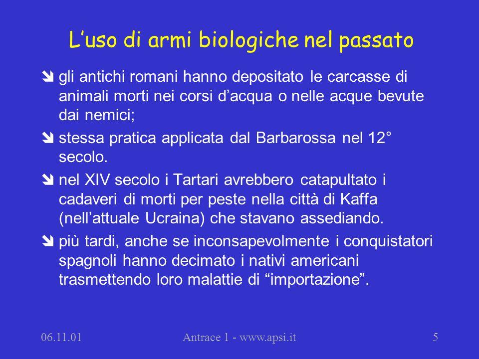L'uso di armi biologiche nel passato