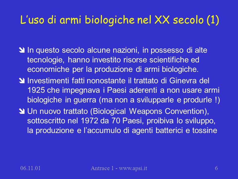 L'uso di armi biologiche nel XX secolo (1)