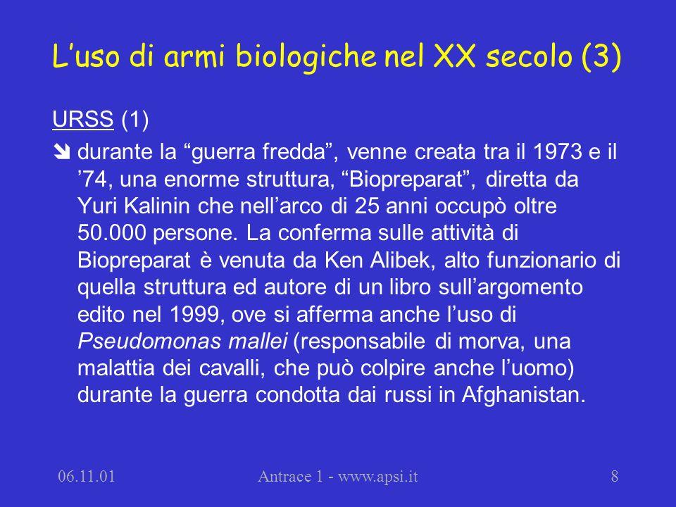 L'uso di armi biologiche nel XX secolo (3)