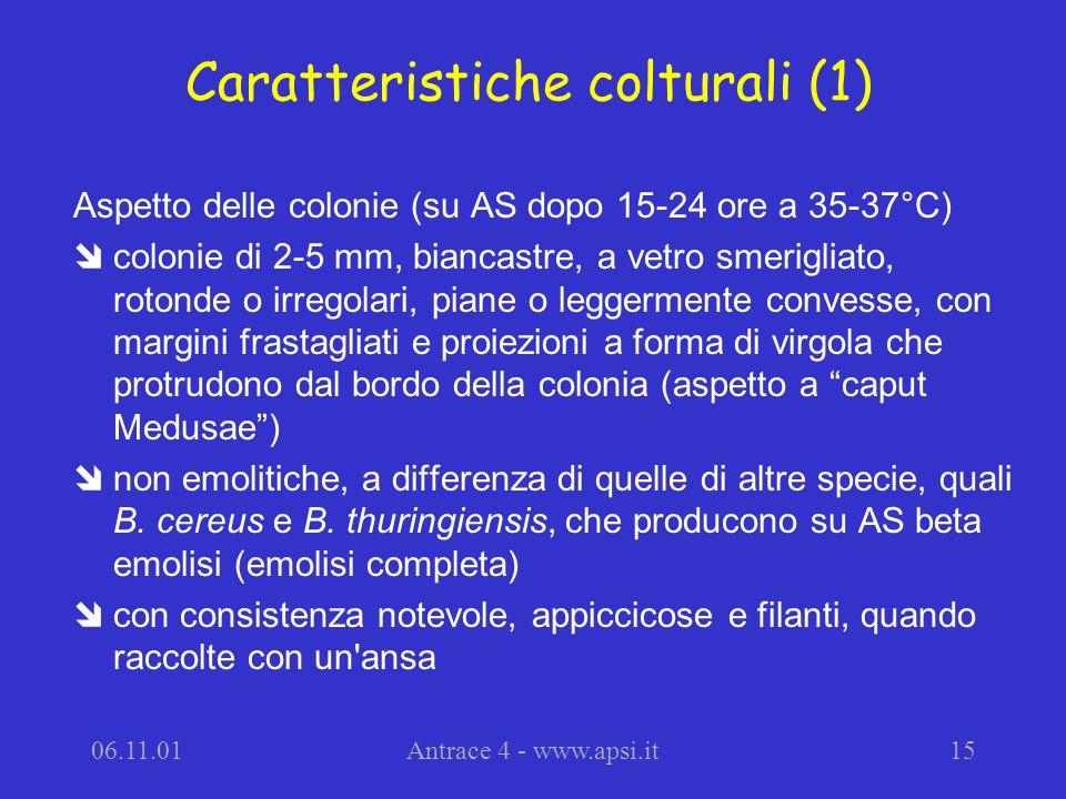 Caratteristiche colturali (1)